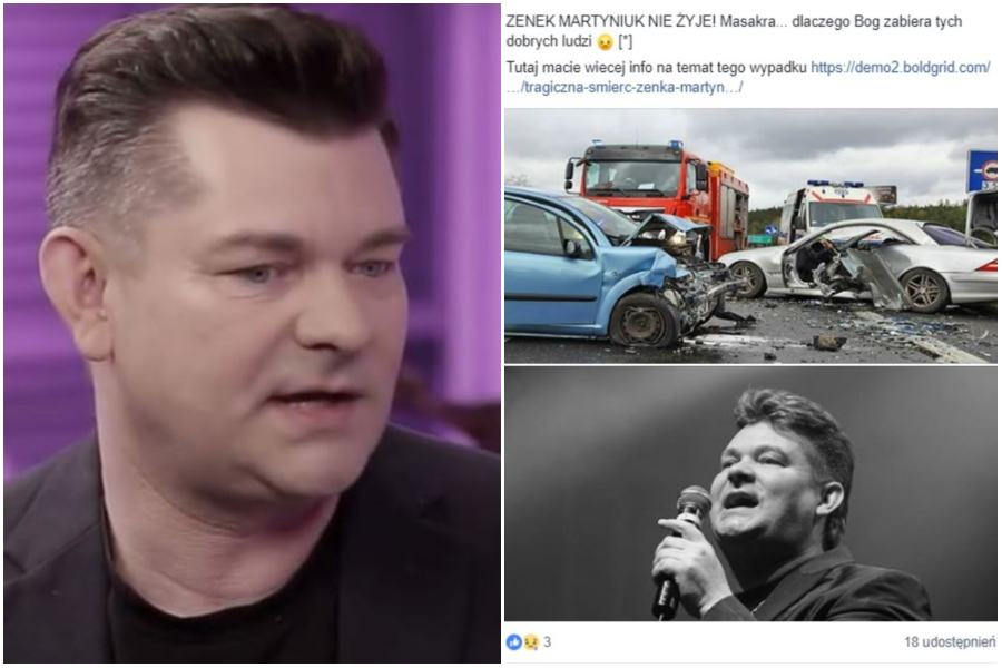 Zenek Martyniuk and screen with wrong information about the artist's death. / image: YouTube / Facebook