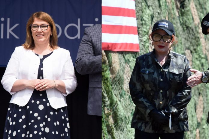 Beata Mazurek, Georgette Mosbacher. Źródło: PAP, collage